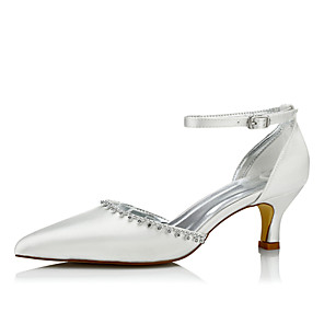 cheap Women's Heels-Women's Wedding Shoes Spring / Fall Low Heel Pointed Toe Comfort Wedding Dress Party & Evening Chain / Lace-up Silk Ivory / EU42