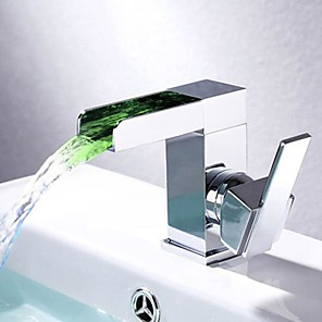 cheap Bathroom Sink Faucets-Bathroom Sink Faucet - Waterfall Chrome Centerset Single Handle One Hole