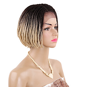 cheap Clip in Hair Extensions-Twist Braids Synthetic Lace Front Wig Box Braids Box Braids Short Bob Wig Blonde Burgundy Black / Burgundy Medium Brown Black / Blonde Black Synthetic Hair Kanekalon 12 inch Women's Blonde Burgundy