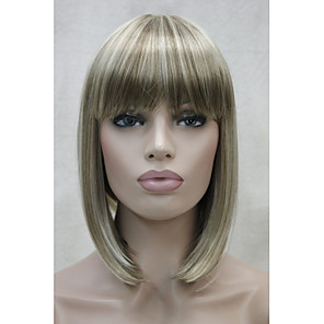 cheap Synthetic Lace Wigs-Synthetic Wig Straight Straight Bob With Bangs Wig Blonde Short Blonde Synthetic Hair Women's Blonde StrongBeauty