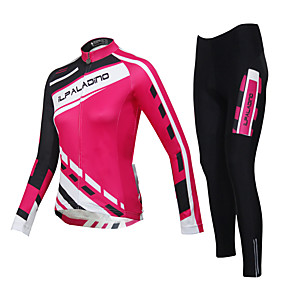 cheap Cycling Jersey & Shorts / Pants Sets-ILPALADINO Men's Women's Long Sleeve Cycling Jersey with Tights Pink Plus Size Bike Tights Clothing Suit Waterproof Windproof Breathable Quick Dry Winter Sports Classic Mountain Bike MTB Road Bike