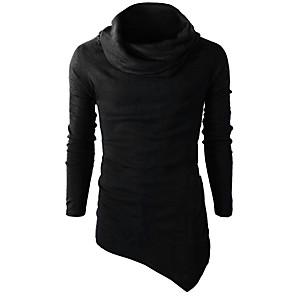 cheap Fitness Gear & Accessories-Men's Daily Sweatshirt Solid Colored Turtleneck Active Basic Hoodies Sweatshirts  Long Sleeve Slim Black Yellow Wine / Winter