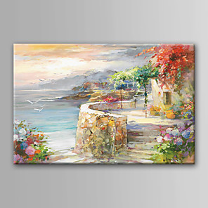 cheap Famous Paintings-Oil Painting Hand Painted - Landscape Modern Contemporary Rolled Canvas