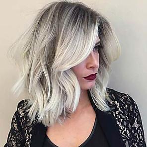 cheap Human Hair Capless Wigs-Human Hair Wig Classic Natural Wave Classic Natural Wave Machine Made Black / Grey Daily
