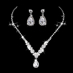 cheap Jewelry Sets-Women's AAA Cubic Zirconia Drop Earrings Choker Necklace Bridal Jewelry Sets Drop Luxury Elegant Vintage Cubic Zirconia Earrings Jewelry Silver For Wedding Anniversary Party Evening Ceremony