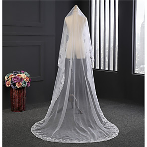 cheap Wedding Veils-One-tier Soak Off Wedding Veil with Appliques Tulle / Classic