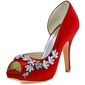 cheap Wedding Shoes-Women's Heels Stiletto Heel Peep Toe Crystal Stretch Satin Basic Pump Spring / Summer Dark Purple / Burgundy / Ivory / Wedding