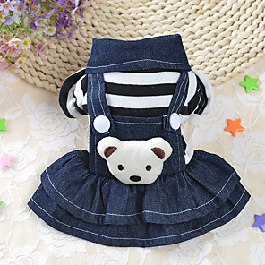 cheap Dog Clothes-Dog Dress Winter Dog Clothes Costume Cotton Stripes Casual / Daily