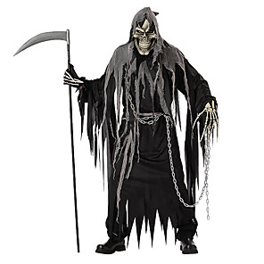 cheap Movie & TV Theme Costumes-Skeleton / Skull Cosplay Grim Reaper Cosplay Costume Halloween Props Adults' Men's Halloween Halloween Carnival Day of the Dead Festival / Holiday Polyster Black Men's Women's Carnival Costumes Solid