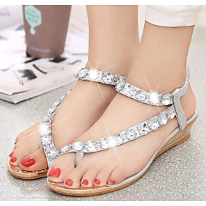 cheap Women's Sandals-Women's Sandals Flat Sandals Plus Size Flat Heel Open Toe Comfort Casual Beach Solid Colored PU Walking Shoes Summer Silver
