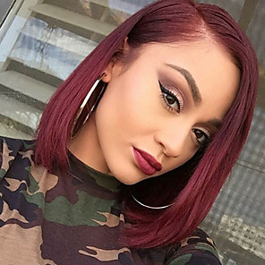 cheap Human Hair Wigs-Remy Human Hair Glueless Lace Front Lace Front Wig Bob style Brazilian Hair Straight Wig 130% Density with Baby Hair Faux Locs Wig Ombre Hair Natural Hairline African American Wig Women's Short