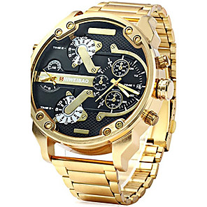 cheap Smartphones-Men's Military Watch Gold Watch Aviation Watch Stainless Steel Black / Gold Calendar / date / day Creative Dual Time Zones Analog Charm Luxury Casual Fashion - Black Brown Black / Gold One Year
