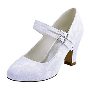 cheap Wedding Shoes-Women's Wedding Shoes Chunky Heel Round Toe Crystal Elastic Fabric Basic Pump Spring / Fall White / Ivory / Party & Evening / EU41