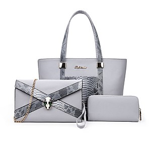 cheap Handbag & Totes-Women's Bags PU Leather Bag Set 3 Pcs Purse Set for Daily Black / Fuchsia / Beige / Bag Sets / Fall & Winter