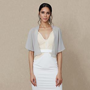 cheap Wedding Wraps-Shrugs Chiffon Wedding / Party / Evening Women's Wrap / Bolero With Draping / Solid