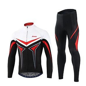 cheap Cycling Jersey & Shorts / Pants Sets-Arsuxeo Men's Long Sleeve Cycling Jersey with Tights Yellow Red Bike Clothing Suit Quick Dry Sports Polyester Spandex Classic Mountain Bike MTB Road Bike Cycling Clothing Apparel / Stretchy