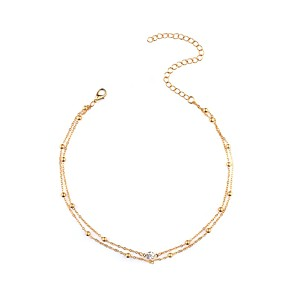 cheap Necklaces-Women's Choker Necklace Double Ladies Personalized Fashion Imitation Diamond Gold Silver Necklace Jewelry For Daily Casual Date
