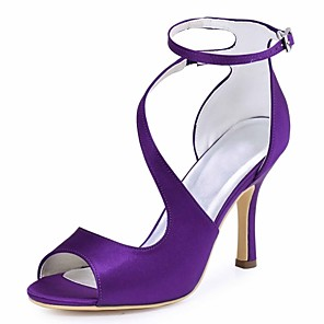 cheap Wedding Shoes-Women's Wedding Shoes Stiletto Heel Peep Toe Buckle Elastic Fabric Basic Pump Summer Dark Blue / Blue / Dark Purple / Party & Evening / EU41