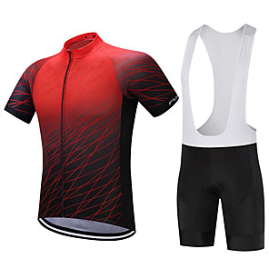 cheap Cycling Jersey & Shorts / Pants Sets-FUALRNY® Men's Short Sleeve Cycling Jersey with Bib Shorts Green Blue Black / Red Gradient Bike Clothing Suit Quick Dry Sweat-wicking Sports Polyester Coolmax® Silicon Gradient Mountain Bike MTB Road