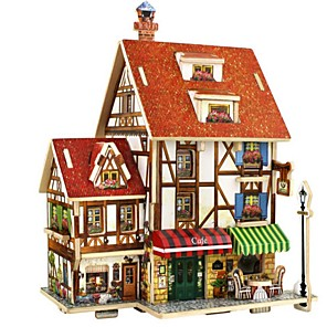 cheap Maze & Sequential Puzzles-3D Puzzle Wooden Puzzle DIY Toys House DIY Wooden Natural Wood Unisex Toy Gift
