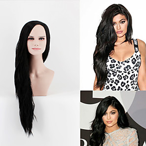 cheap CCTV Cameras-Synthetic Wig Straight Straight Wig Long Very Long Natural Black Synthetic Hair Women's Side Part Black