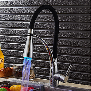 cheap Kitchen Faucets-Kitchen faucet - Modern / Contemporary Chrome LED Light / Pull-out / ­Pull-down Vessel / Brass