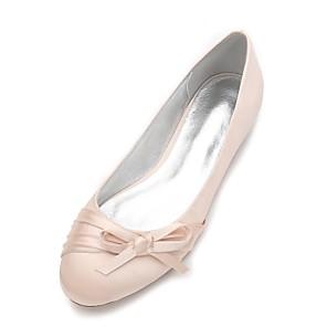 cheap Wedding Shoes-Women's Wedding Shoes Flat Heel Round Toe Bowknot / Satin Flower / Flower Satin Comfort / Ballerina Spring / Summer Blue / Champagne / Ivory / Party & Evening