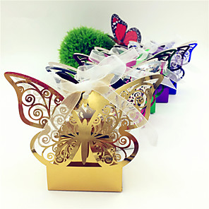 cheap LED String Lights-Round / Square Card Paper Favor Holder with Ribbons / Printing Favor Boxes - 50