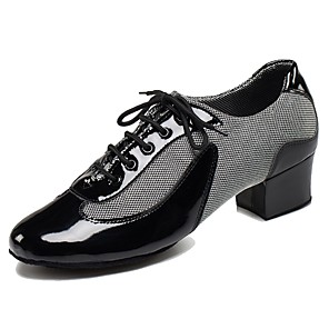 cheap Women's Boots-Men's Latin Shoes / Ballroom Shoes Leatherette / PU Lace-up Heel Customized Heel Customizable Dance Shoes Black / White / Red / Indoor / EU39