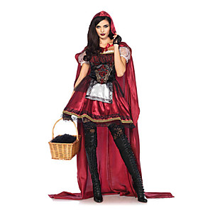 cheap Historical & Vintage Costumes-Little Red Riding Hood Cosplay Costume Masquerade Adults' Women's Christmas Halloween Carnival Festival / Holiday Elastane Tactel Red Women's Female Easy Carnival Costumes Other Vintage / Gloves