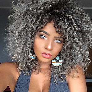 cheap Synthetic Lace Wigs-Synthetic Wig Curly Kinky Curly Kinky Curly Curly Wig Medium Length Black / Grey Synthetic Hair Women's Heat Resistant Ombre Hair Gray