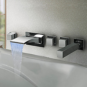 cheap Other Phone Case-Waterfall Bathtub Faucet - Contemporary / Modern Style / LED Chrome Wall Mounted Brass Valve Bath Shower Mixer Taps / Three Handles Five Holes