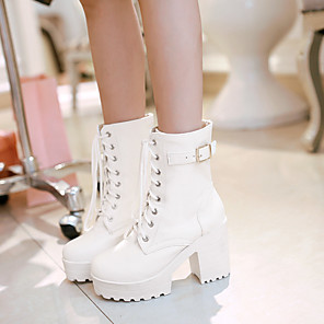 cheap Women's Boots-Women's Boots Plus Size Block Heel Round Toe Comfort Daily Buckle Solid Colored PU Walking Shoes White / Black / Brown / EU42