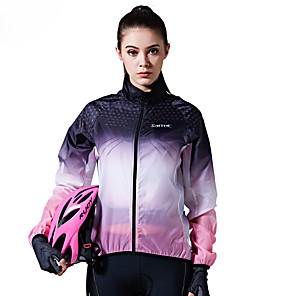cheap Softshell, Fleece & Hiking Jackets-SANTIC Women's Cycling Jacket Bike Top Windproof Sports Violet Mountain Bike MTB Road Bike Cycling Clothing Apparel Advanced Relaxed Fit Bike Wear