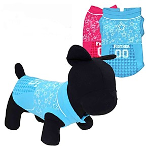 cheap Dog Clothes-Cat Dog Shirt / T-Shirt Dog Clothes Red Blue Costume Terylene Heart Stars XS S M L