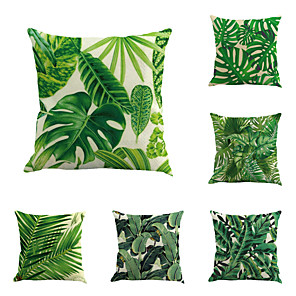 cheap Pillow Covers-Set of 6 Cotton / Linen Pillow Cover Pillow Case, Botanical Novelty Classic Classical Retro Traditional / Classic Throw Pillow