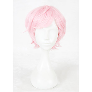 cheap Costume Wigs-Cosplay Costume Wig Synthetic Wig Cosplay Wig Straight Kardashian Straight Wig Pink Short Pink Synthetic Hair Faux Locs Wig Pink
