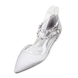 cheap Wedding Shoes-Women's Wedding Shoes Glitter Crystal Sequined Jeweled Flat Heel Pointed Toe Pearl / Imitation Pearl Satin Comfort / Mary Jane / D'Orsay & Two-Piece Spring / Summer Purple / Red / Champagne