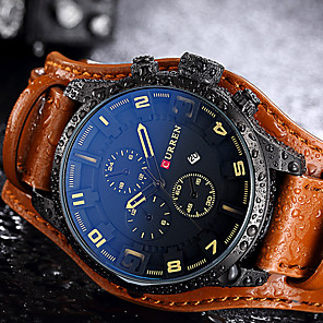 cheap Sport Watches-Men's Sport Watch Wrist Watch Quartz Genuine Leather Black / Brown Water Resistant / Waterproof Calendar / date / day Creative Analog Casual Fashion Elegant Unique Creative - Yellow Brown Red Two