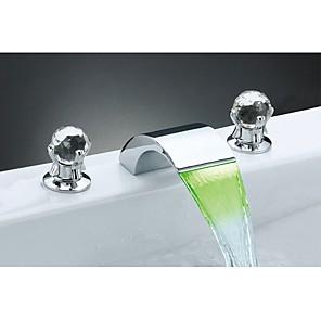 abordables Robinets de Lavabo-Robinet lavabo - Jet pluie / Séparé Chrome Diffusion large Deux poignées trois trousBath Taps / Laiton