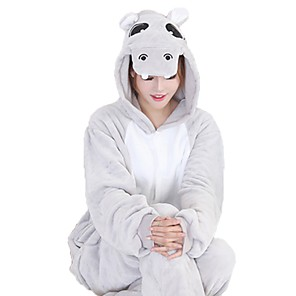 cheap Kigurumi Pajamas-Adults' Kigurumi Pajamas with Slippers Hippo Onesie Pajamas Flannel Fabric Blue / Pink / Gray Cosplay For Men and Women Animal Sleepwear Cartoon Festival / Holiday Costumes