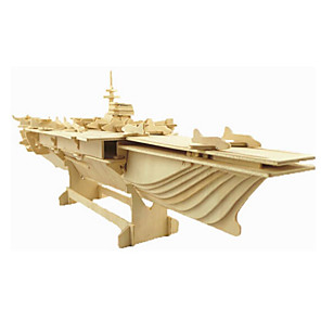 cheap Christmas Toys-3D Puzzle Jigsaw Puzzle Wooden Model Fighter Aircraft Famous buildings House Wooden Natural Wood Unisex Toy Gift
