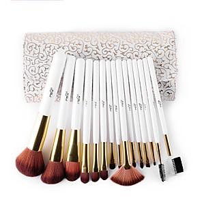 cheap Makeup Brush Sets-MSQ 15 stcke Make-Up Pinsel Set Kunsthaar Make-Up Pinsel Schnheit Kosmetik Pinsel Set Mit Zarten Weien Muster PU fall
