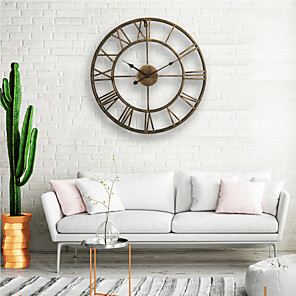 cheap Framed Arts-Wall Clock, 20'' Round Centurian Classic Metal Wrought Iron Roman Numeral Style Home Decor Analog Metal Clock