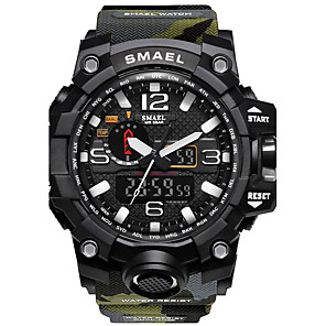cheap Stands & Cooling Pads-SMAEL Men's Sport Watch Digital Watch Hunting Watch Water Resistant / Waterproof Silicone Black / Red Analog - Digital - Red / Blue Black / Orange Khaki Two Years Battery Life / Stopwatch