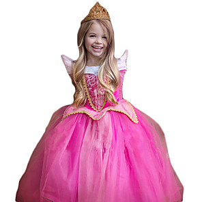 cheap Movie & TV Theme Costumes-Princess Cosplay Costume Kid's Christmas Children's Day New Year Festival / Holiday Polyester Rose Carnival Costumes Sparkling Glitter Lace