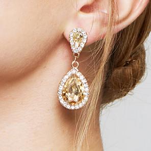 cheap Earrings-Women's Champagne AAA Cubic Zirconia Drop Earrings Hanging Earrings Pear Cut Solitaire Two Stone Ladies Fashion Elegant Bridal Bling Bling Crystal Imitation Diamond Earrings Jewelry Champagne For