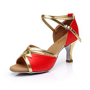 cheap Women's Heels-Women's Dance Shoes Silk Latin Shoes Buckle Sandal Customized Heel Customizable Brown / Red / Blue / Indoor / Leather / EU40
