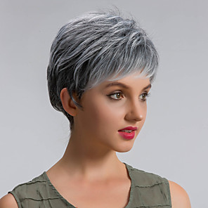 cheap Costume Wigs-Synthetic Wig Straight Straight Wig Short Grey Synthetic Hair Women's Gray MAYSU
