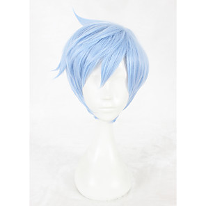 cheap Synthetic Trendy Wigs-Synthetic Wig Cosplay Wig Straight Straight Wig Short Blue Synthetic Hair Faux Locs Wig Blue